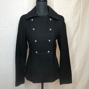 H&M Wool Military pea coat with gold buttons